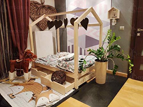 Hyggelia Hausbett aus Holz und Zwei Schubladen ohne Barrieren Bonnie-Bett für Kinder, für Jugendliche Schlafzimmermöbel Kinderbett (193 x 203 cm (King Size), Natürliches Holz)