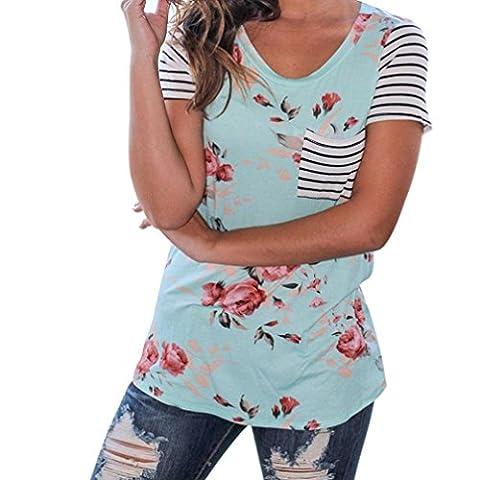 Amlaiworld Femmes rayures manches courtes Fleur imprimée t-shirt chemisier Tops (M, Bleu)