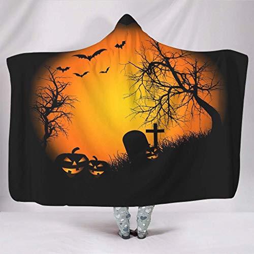 Urlaub Halloween Orange Mond Fledermäuse Bäume Ast Grab Print Kapuzen-Decken Neuheit kuschelig warme Winter Sherpa Fleece Schal Wrap für Erwachsene Teens Schlafsessel Bettwäsche weiß 60 x 80 Zoll