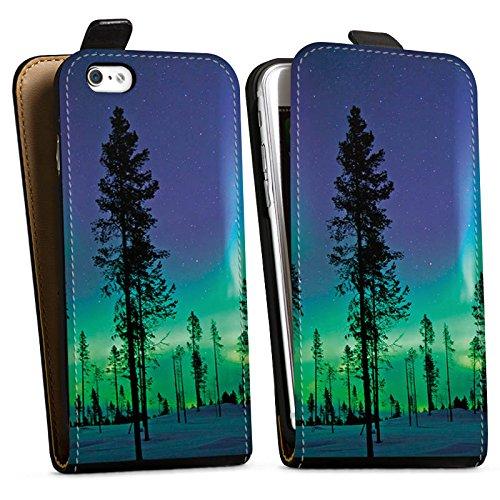 Apple iPhone X Silikon Hülle Case Schutzhülle Bäume Himmel Mystisch Downflip Tasche schwarz