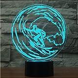 Mmzki 3D Surf Modélisation Led Lampe De Table Usb 7 Couleurs Dégradé Acrylique Night Light Enfants Chambre Chevet Décor Éclairage Enfants Cadeaux