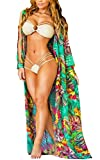 Cardigan Damen Lang Elegant Vintage Blumendrucken Boho Strand Tunika Langarm Locker Casual Urlaub Luftig Dünn Strandmode Beachtime Beachwear Chiffon Kimono Bikini Cover up (Color : Grün, Size : XL)