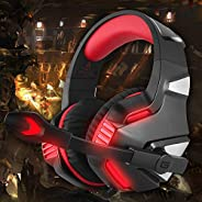 Hunterspider V-3 3.5mm Wired Gaming Headsets Over Ear Headphones Noise Canceling Earphone with Microphone LED