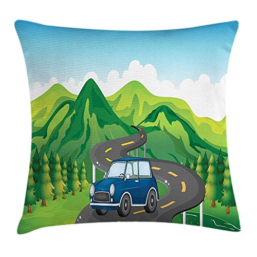 Road Trip Throw Pillow Cushion Cover, Retro Car Travelling on a Narrow Winding Road on High Hills of Green Mountains, Decorative Square Accent Pillow Case, 18 X 18 inches, Multicolor -