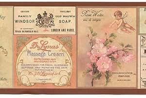Savon de Salle de Bain et fleur Étiquettes–Papier Peint frontière