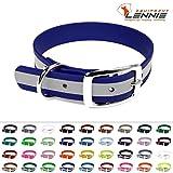 LENNIE BioThane Halsband, Dornschnalle, 25 mm breit, Größe 32-40 cm, Blau-Reflex, Aufdruck möglich, 4 Größen, viele Farben, Hundehalsband