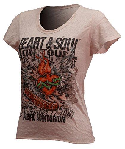 Damen Frauen Printed T Shirt - Gothic Look Tshirt - T-Shirt - Basis Kurzarm Rundhalz Top - Peach