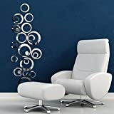 DDLBiz® Circles Spiegel Stil Abnehmbare Abziehbild-Vinyl Art Home Decor Wandaufkleber