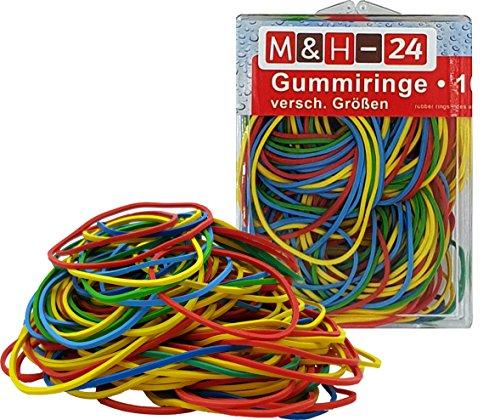 Gummiringe Haushalts-Gummis Bunt Gemischt ca. 190 Stück Pro 100g, Farbig Bunt Sortiert in Box Gummi für Büro Arbeit Haushalt 100g