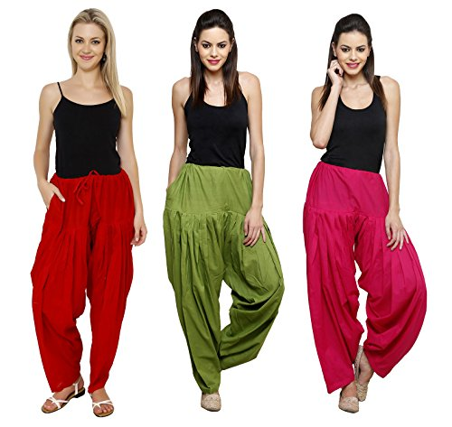 Pistaa Combo of Womens Solid Cotton Maroon, Mehendi Green And Rani Pink...