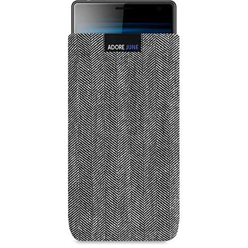 Adore June Business Tasche passend für Sony Xperia 1 & Xperia 10 Plus Handytasche aus charakteristischem Fischgrat Stoff - Grau/Schwarz | Schutztasche Zubehör mit Bildschirm Reinigungs-Effekt