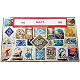 Maps of the World, Worldwide Collectible Set of 100 Postage Stamps! Souvenir / Speicher / Memoria! A Unique Set, 100 Different Stamps! Timbre-Poste / Briefmarke / Francobollo / Sello de Correos!