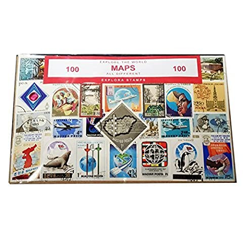 Maps of the World, Worldwide Collectable Set of 100 Postage
