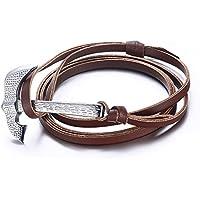 Vnox Cuoio genuino Multi-Strati avvolgente braccialetto regolabile con acciaio inossidabile Battle Axe Charm Brown