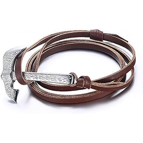 Vnox Piel de cuero genuino multi-capas pulsera de ajuste ajustable con acero inoxidable batalla hacha marrón