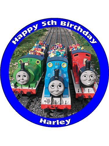 "Price comparison product image Thomas the tank engine 7.5"" Round personalised birthday cake topper printed on icing"