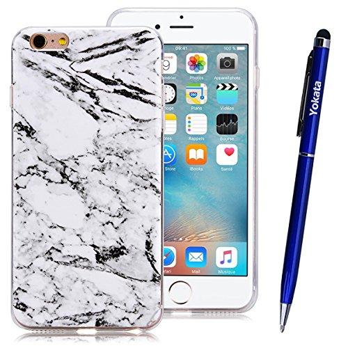 iPhone 6 Plus / iPhone 6S Plus Coque, Yokata Gradient Couleur Marbre Gemme Design Case Housse Étui Flexible Soft Doux TPU Silicone Backcover Ultra Mince Hybrid Coque + 1*Stylet - Bleu Blanc