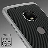 #7: Tapfond Dual Layer Tough Armor Carbon Fibre Back Cover Case with Heavy Duty Protection for Motorola Moto G5 Plus 2017 5th Generation (Silver)