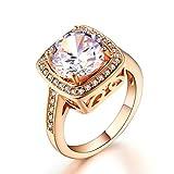 Double Fair Jewelry Mujer 18ct gold cobre redonda cambia de color Cubic Zirconia