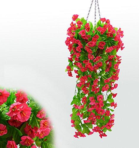 SCLOTHS Künstliche Blumen Wohnaccessoires Wand montiert Niou HUA Decke Flansch Weinstock Zwei Balken Rot