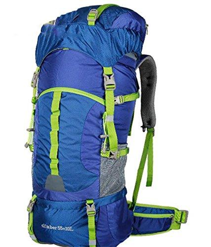borsa da viaggio di alpinismo all'aperto zaino di grandi uomini e donne la capacità 55L65L ( Colore : Rosso , dimensioni : 55+10L ) Blu