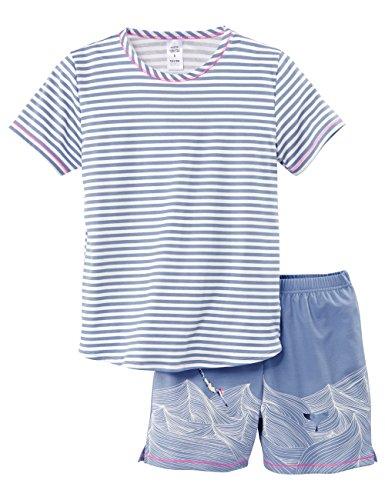 Calida Mädchen Zweiteiliger Schlafanzug Swimming Beauty Pyjama Kurz, Blau (Glaucous Blue 394), 140 (Mädchen Teiliger Schlafanzug Kurzer 2)