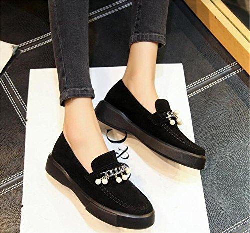 95d95417abeba5 ... Chaussures Pour Femmes Plate-forme Tache En Cuir Métal Boucle Mocassins  Taille 35to42 Noir