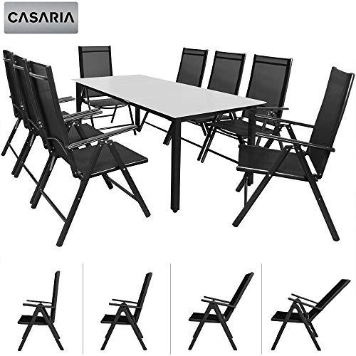 Casaria Salon de Jardin Aluminium Anthracite »Bern« 1 Table 8 chaises Pliantes Plateau de Table en...