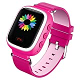 GBD Kids Smart Watch with SIM card GPS Color LCD Smartwatch for Kids Child Anti Lost Tracker Location SOS for iOS Android Apple iPhone App Pink Pink