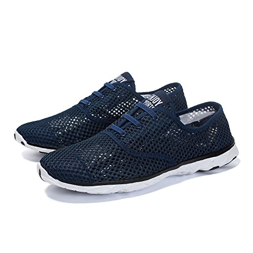 a24059b3c195 Voovix Men s Lace-up Quick Drying Aqua Water Shoes Breathable Mesh Sneakers  Outdoor Trainers(navy