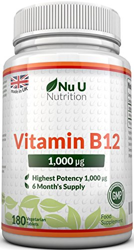 Vitamin B12 Methylcobalamin 1000mcg 180 Tablets (6 Month's Supply) by Nu U Nutrition Test
