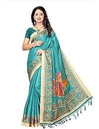 Fabwomen Sarees Kalamkari Green And Green Coloured Khadi Silk With Tassels Fashion Party Wear Women's Saree/Sari.