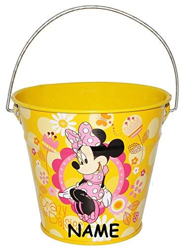 Metalleimer für Kinder / Deko -  Disney Minnie Mouse  - incl. Name - gelb - 0,5 Liter - Metall Eimer - Sandeimer / Kindereimer Garteneimer - großer gelber -..