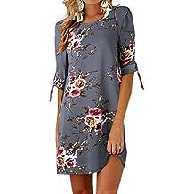 107dabaa62aa3 Ajpguot Vestido de Verano Mujer Impresión Mini Vestidos de Playa Elegante Corto  Vestido de Fiesta Cuello