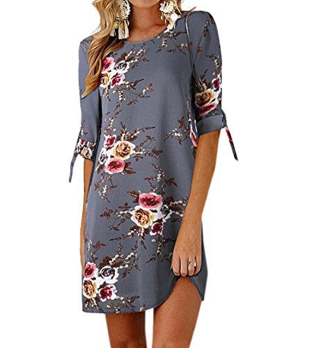 Ajpguot Sommerkleid Damen T-Shirt Kleid Rundhals Kurzarm Minikleid Blumen Strandkleider Langes Shirt Lose Tunika mit Bowknot Ärmeln (0881Grau, L) -