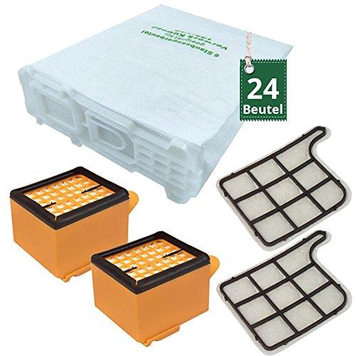 24 Staubsaugerbeutel und 4 Filter passend für Vorwerk Kobold 135 136 Hepa H11