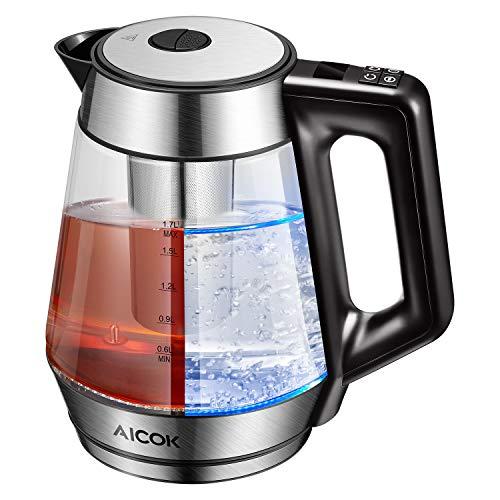 Aicok Wasserkocher Glas mit Temperatureinstellung von 40° bis 95°C, Warmhaltefunktion mit blauer LED Beleuchtung, eletrische Wasserkessel mit Temperatureinstellung, Teekanne, 1,7 Liter, 2200 Watt