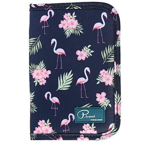 Uarter Borsa portafogli portatile da viaggio di sicurezza impermeabile per passaporto, fenicotteri 7.1' X5.1' Nero