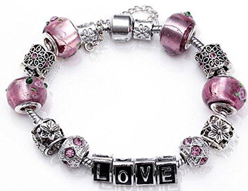 SaySure - Love Pattern Pendant European Glass Bead Bracelets