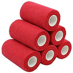 YuMai Bandage Cohésif 10cm - Bandage Gaze adhésif Flexible Sportif Médical Vétérinaire pour Animaux Chien Blessures Athlètes, 6 rouleaux - Rouge