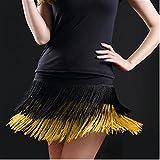 YOUMU Damen Lateinischer Tanzrock Ballroom Samba Salsa Cha Cha Dancewear doppellagige Fransen Quasten, Damen, 904-A418-XL-YE, gelb, XL(EU M)/Suggest Weight: 40-50kg