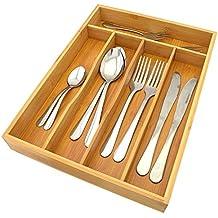 Top Home Solutions Organizador de Almacenamiento de Cajón de madera de bambú de compartimiento de 5cubiertos Bandeja