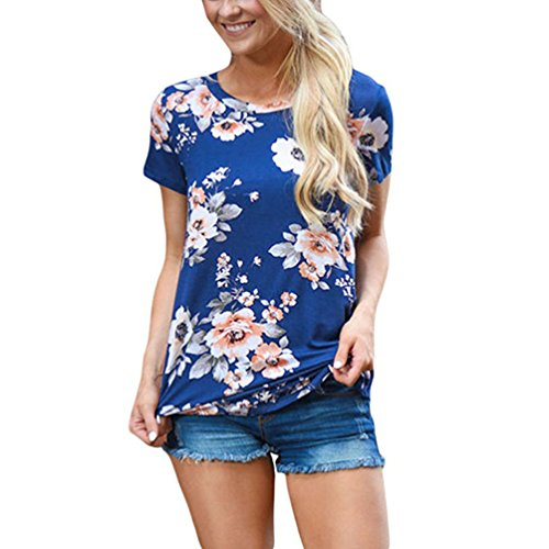 NiSeng Damen Kurzarm Rundhals Tops Sommer Casual Loose Blumenmuster Bluse T-Shirt Blau