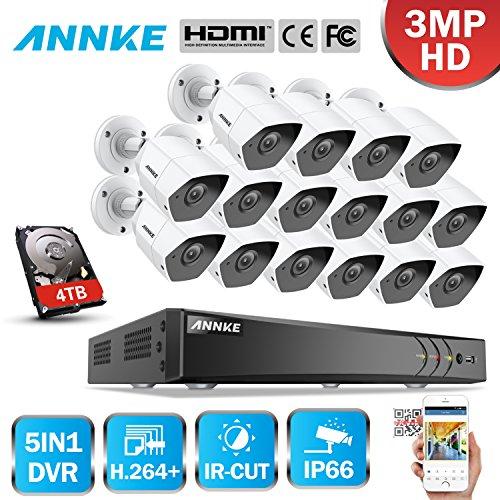 ANNKE Überwachungskamera Set, 16CH 3.0MP 5 in 1 HD DVR Recorder + 16*3MP Bullet Überwachungskameras, Bewegungserkennung, Smart Search/Playback (4TB HDD)