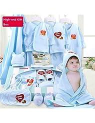 SHISHANG Boîte cadeau pour bébés 100% Ensemble cadeau pur en coton (17 sets) Fourrure Enfant Four Seasons pour bébé 0-2 ans