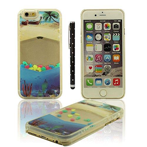 Hübsch Bunt Apple iPhone 6S Plus / 6 Plus 5.5 inch Schutzhülle Hülle, Ozean Muster schwimmend Fisch Serie Kreativ Sanduhr Gestalten Entwurf Hart Transparent Klar Case mit Stylus-Stift graun