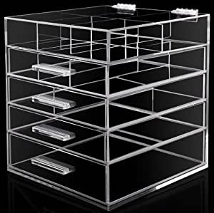 hohe qualit t plexiglas cosmetic make up organizer mit schubladen k che haushalt. Black Bedroom Furniture Sets. Home Design Ideas