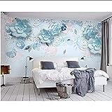 Lifme 3D Foto Wallpaper Moderna 3D Stereo Blu Fiori Di Alta Qualità Tv Sfondo Soggiorno Parete Dipinta Decorazione Della Casa-350X250Cm