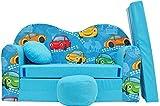 Minisofa Kindersofa Kindercouch Schlafsofa Sofabett Mini Couch mit Kissen und Sitzkissen BLAU AUTOS WELLE