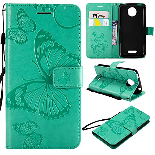Moto C Plus Hülle, Conber Lederhülle Handyhülle mit [Kostenlose Schutzfolie], PU Tasche Leder Flip Case Cover Emboss 3D Schmetterling Schutzhülle für Motorola Moto C Plus - Grün